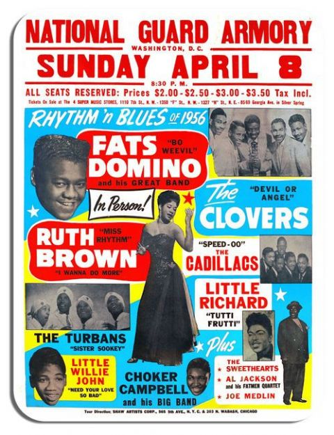 Fats Domino, Little Richard, Ruth Brown Mouse Mat. Rhythm & Blues 1956 Mouse pad